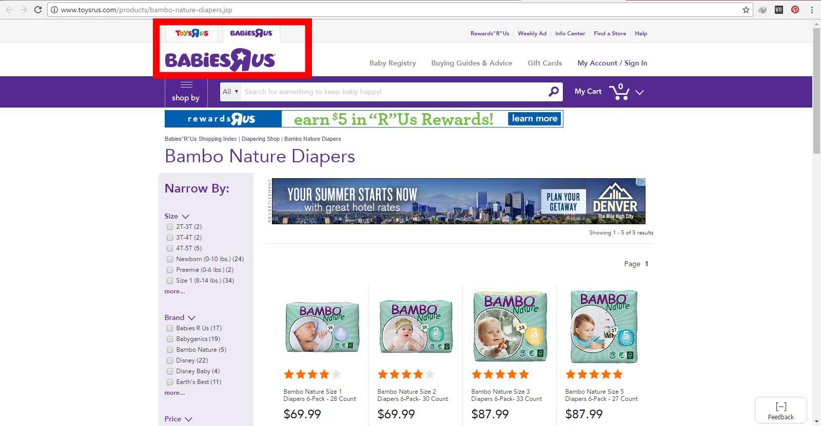 فروش پوشک بچه بامبو ساخت کشور دانمارک در سایت اینترنتی toysrus