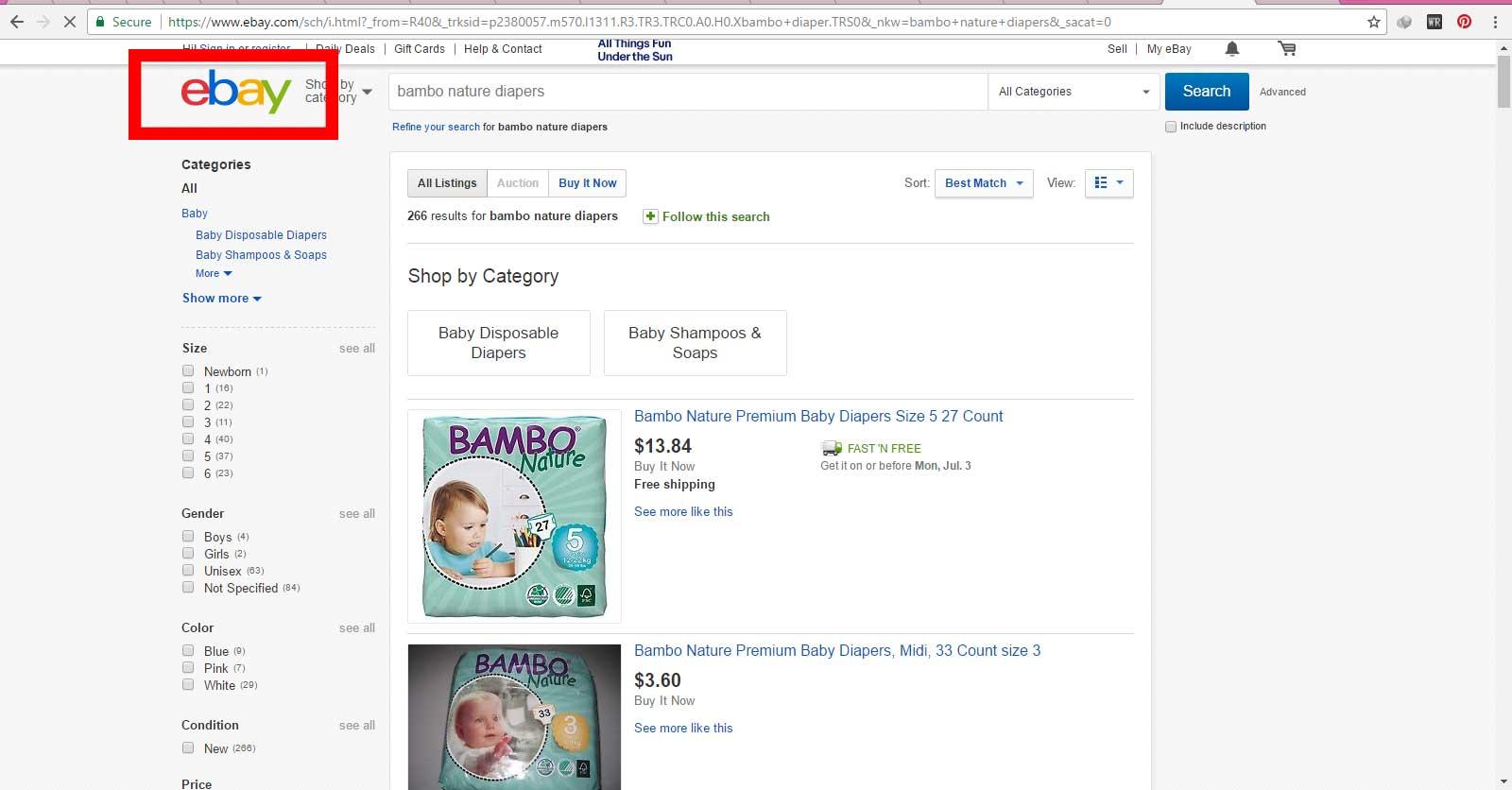 فروش پوشک بچه بامبو ساخت کشور دانمارک در سایت اینترنتی ایبی