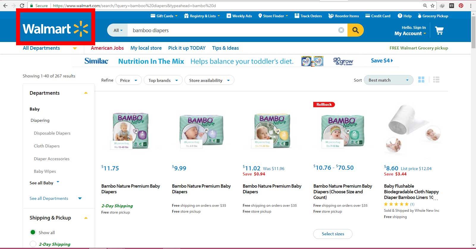فروش پوشک بچه بامبو ساخت کشور دانمارک در سایت اینترنتی والمارت